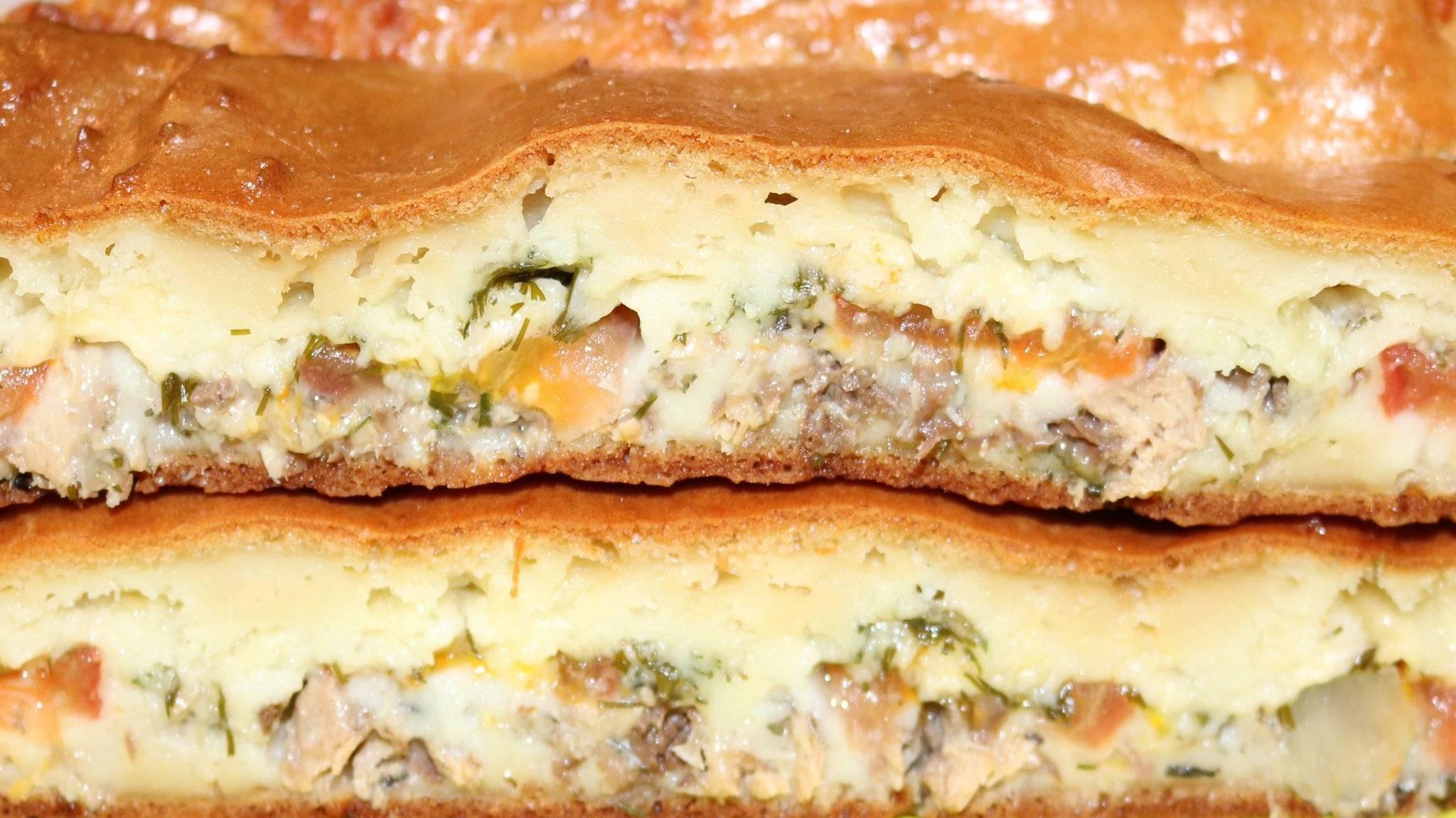 Заливной пирог на кефире с рыбной консервой — wowcook.net