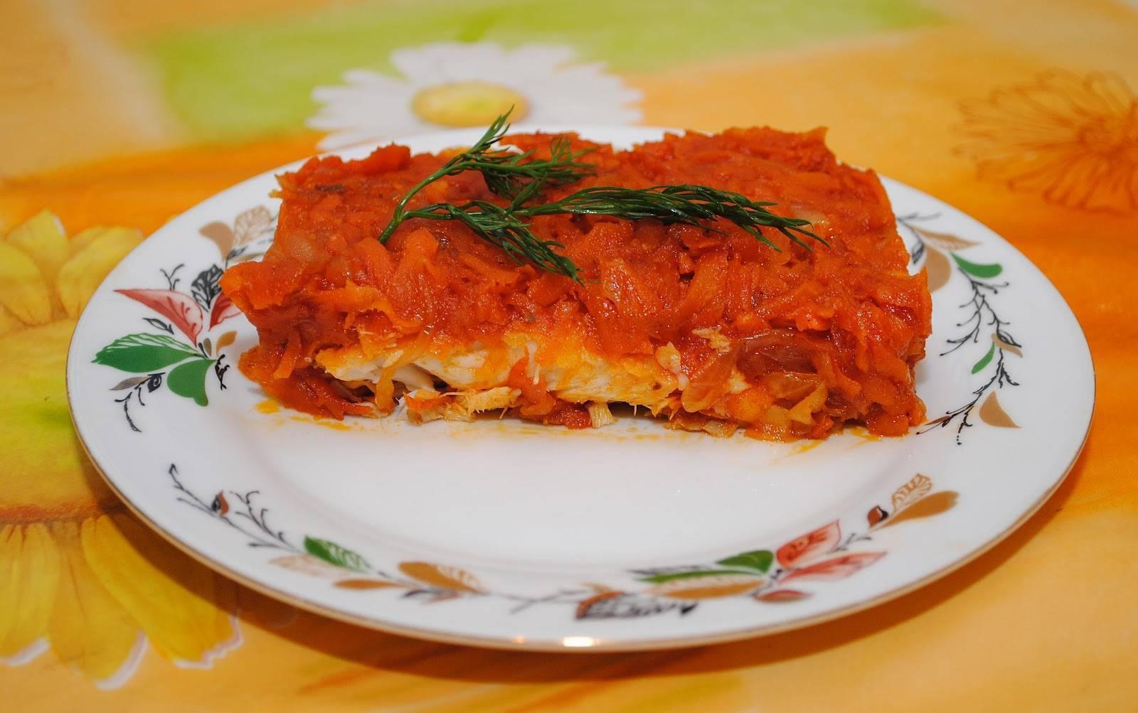 Минтай в маринаде с морковью и луком