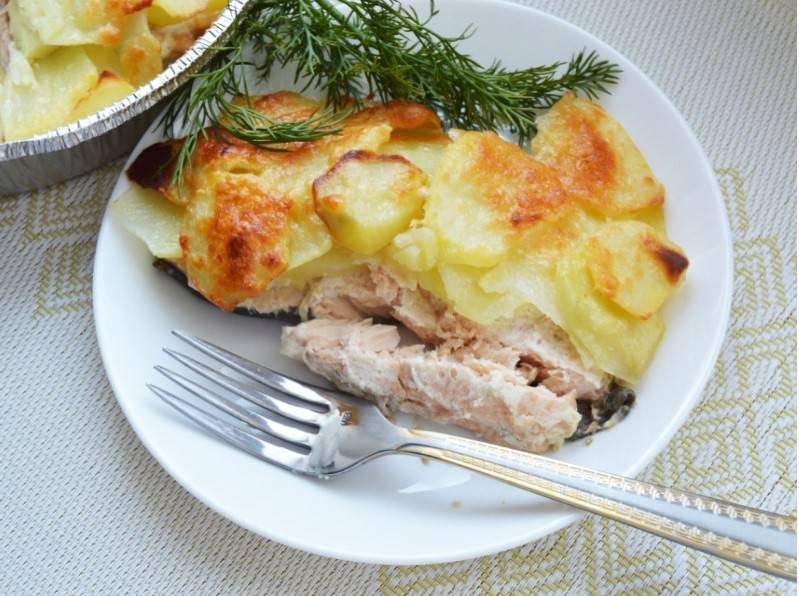 Как запечь рыбу в духовке с картошкой