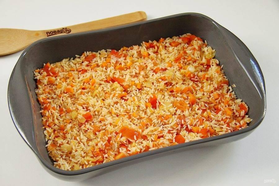 Запеченная рыба с рисом по простому пошаговому рецепту с фото
