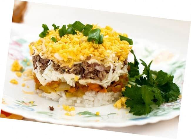 Рецепт: рыбный салат с картофелем
