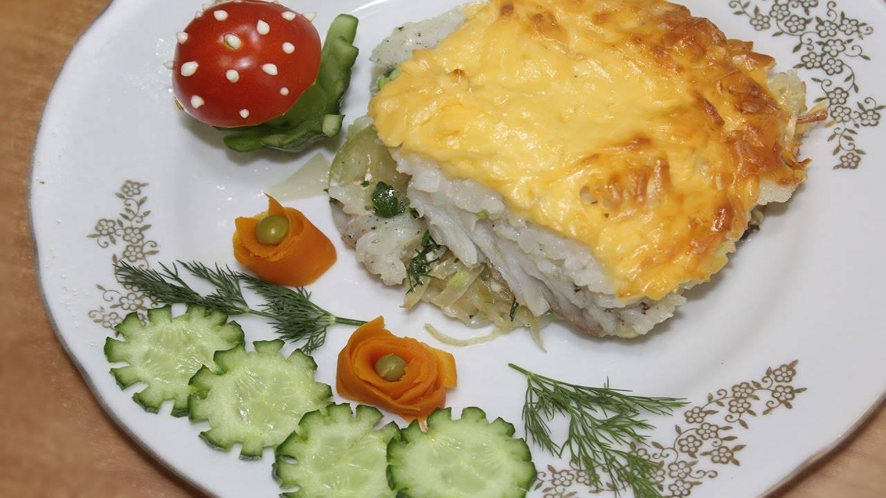 Рыба с рисом с овощами в духовке