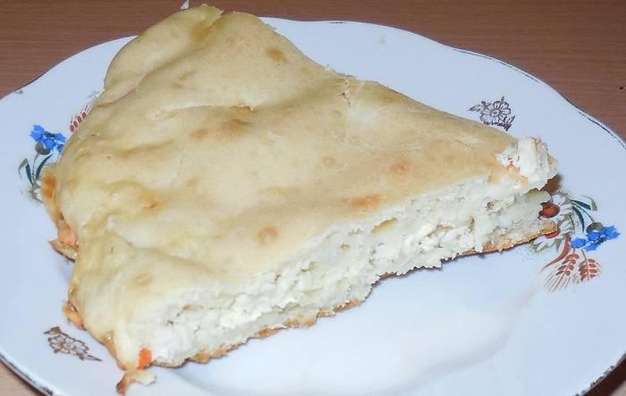 Заливной пирог на кефире с рыбными консервами