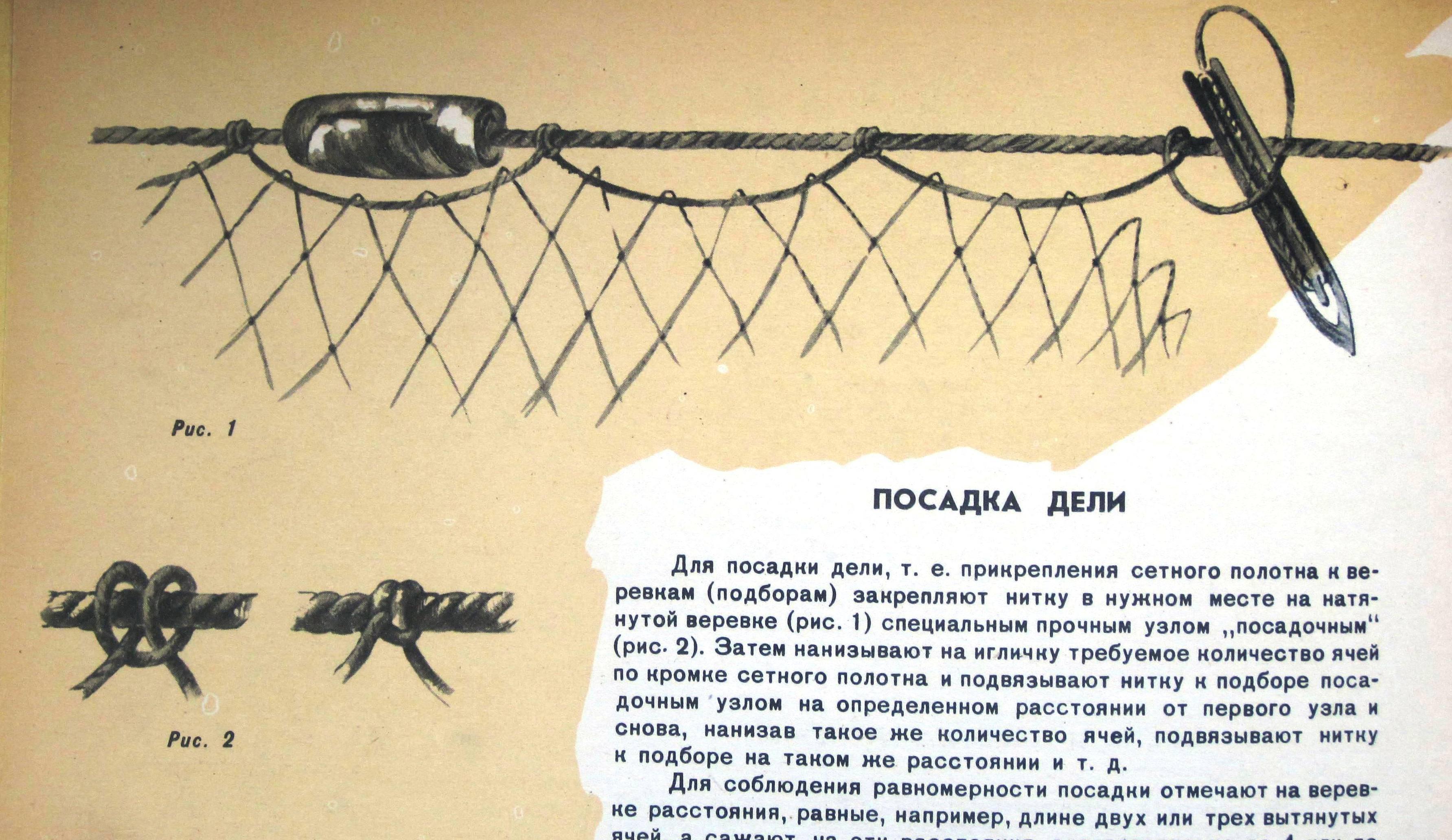 Пошаговая инструкция о том, как вязать рыболовные сети своими руками и с помощью станка