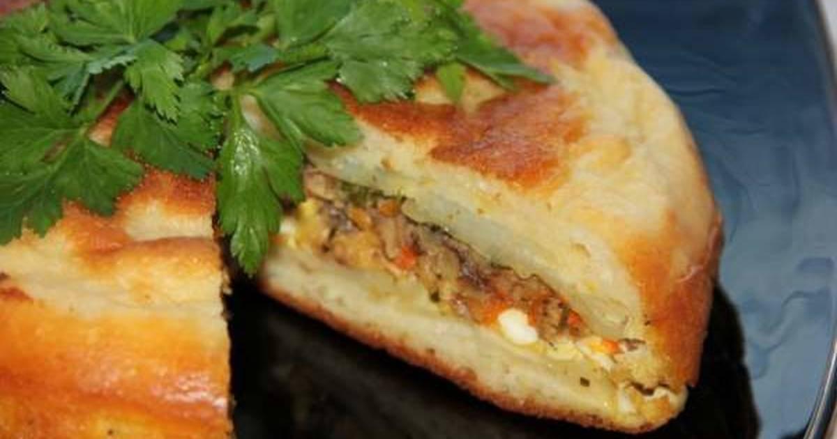 Заливной пирог с рыбой и грибами – кулинарный рецепт