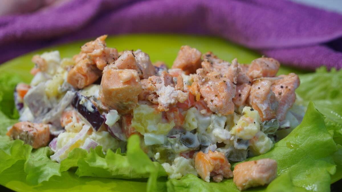 Пошаговый рецепт салата c красной рыбой