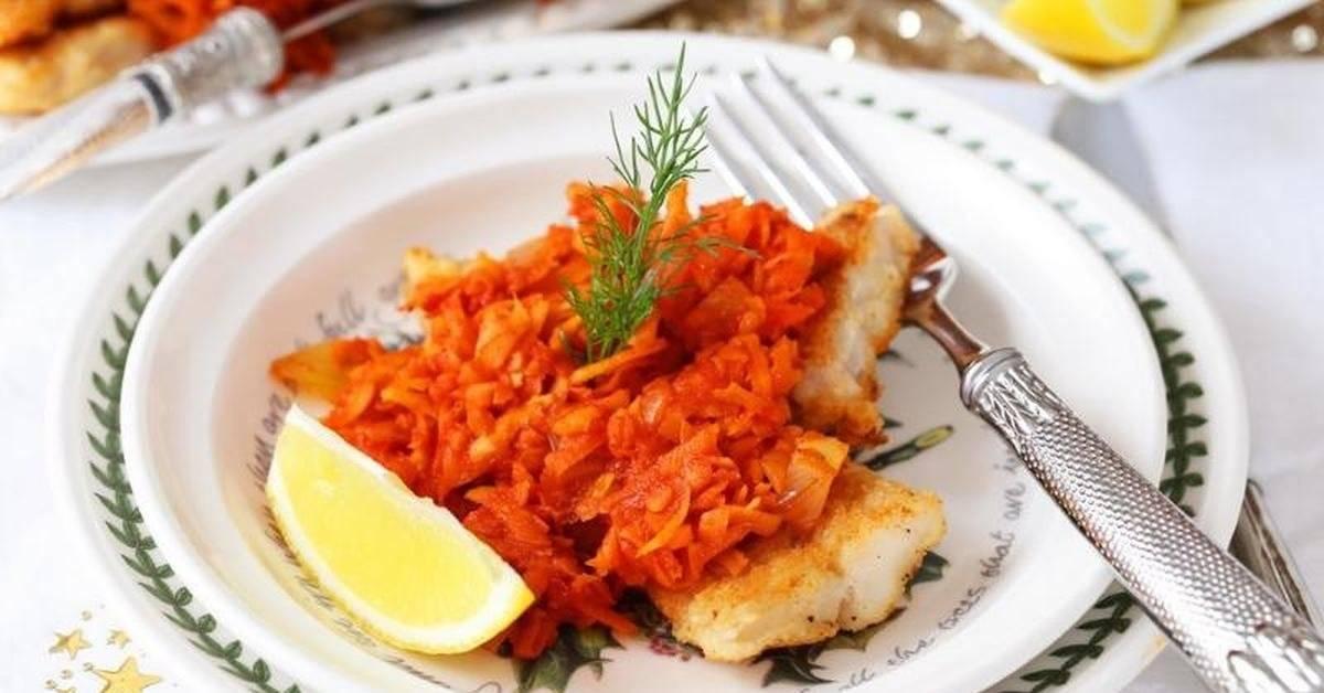 Минтай под маринадом из моркови и лука классический рецепт