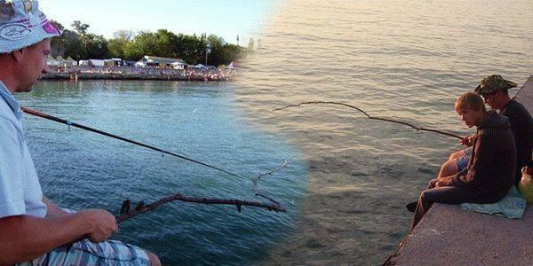 Рыбалка в евпатории в марте-июне-августе-сентябре.  рыбалка в евпатории на базе черные камни, на озерах,  с берега