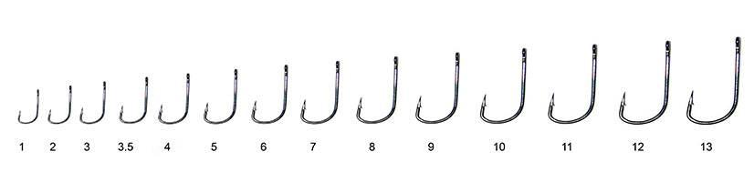 Размеры рыболовных крючков