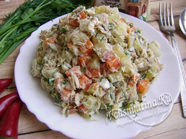Рецепт салата с отварной рыбой - 8 пошаговых фото в рецепте