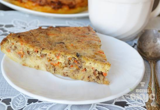 Рецепт: заливной пирог с рыбными консервами
