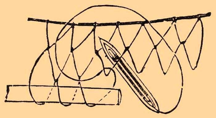 Посадка сетеполотна на шнуры