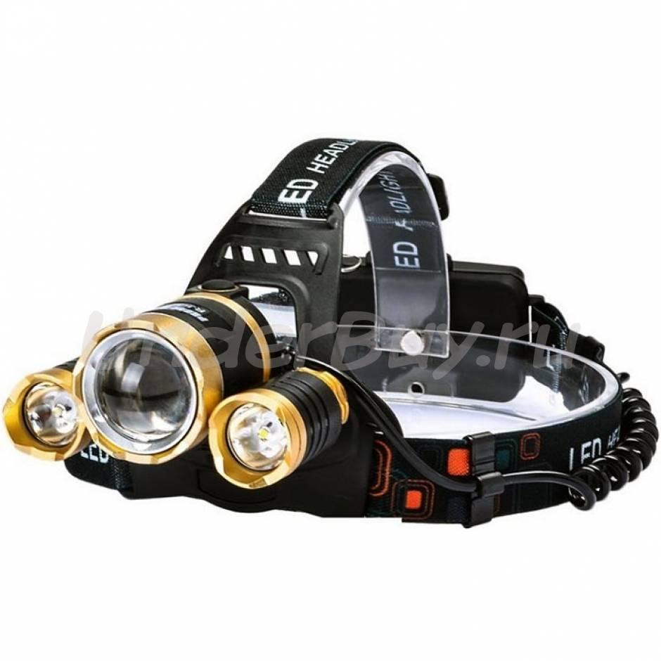 Где купить мощный светодиодный налобный фонарь для рыбалки и охоты на аккумуляторах boruit hl 720