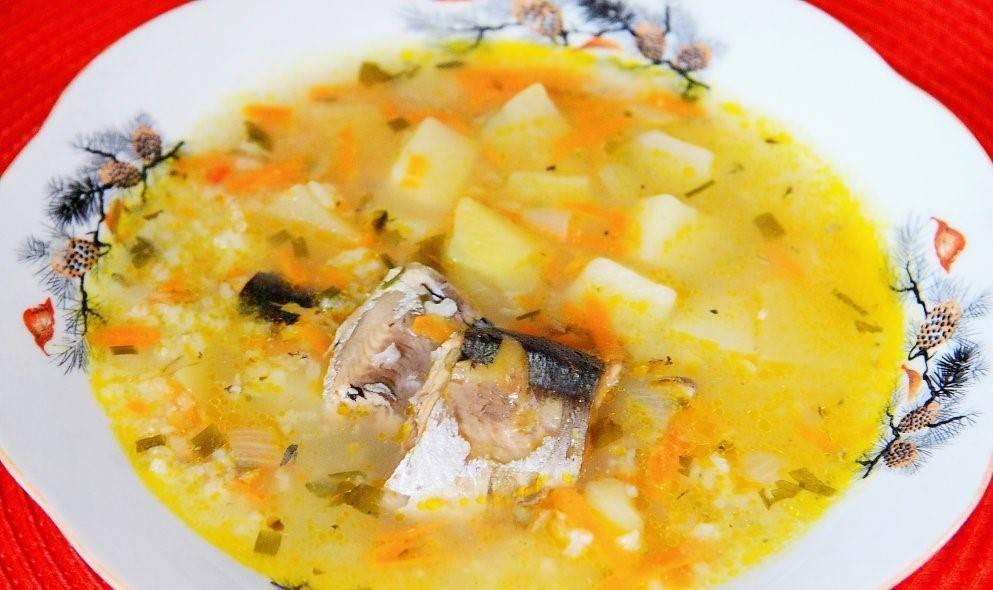 Суп из консервированной сайры – рецепт с рисом